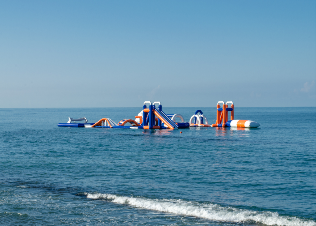inflatable obstacle in water
